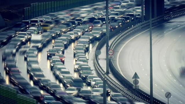 Traffic jam on speed highway video