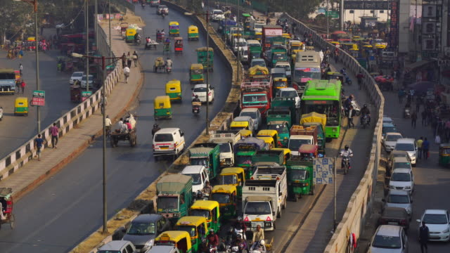 Traffic jam on the polluted streets of New Delhi in India