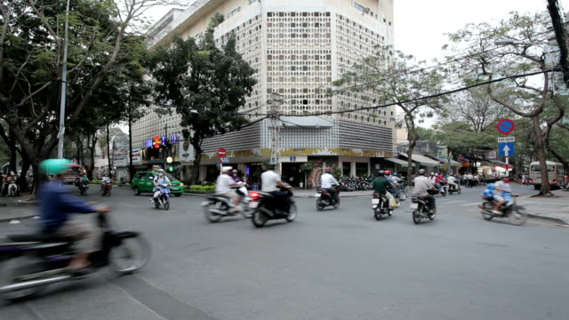traffic jam with a congestion of scooters and people video