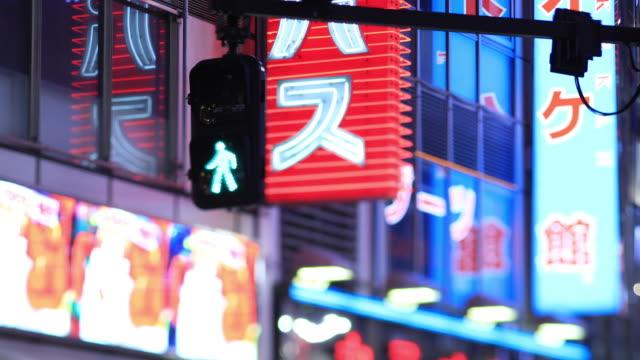 Ampel an der Kreuzung in Shinjuku Tokyo regnerischen Tag in der Nacht – Video