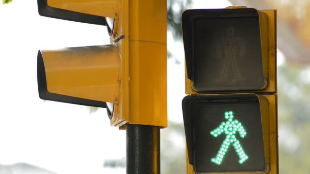 traffic light for pedestrians in green turning into red - segnale per macchine e pedoni video stock e b–roll
