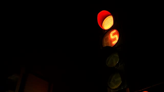 Traffic light in the night