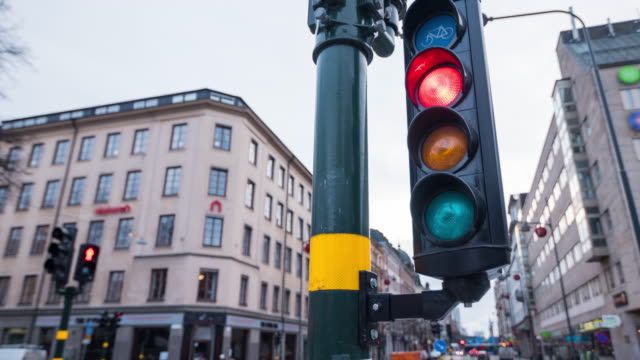 Traffic Light Intersection In Stockholm, Sweden video