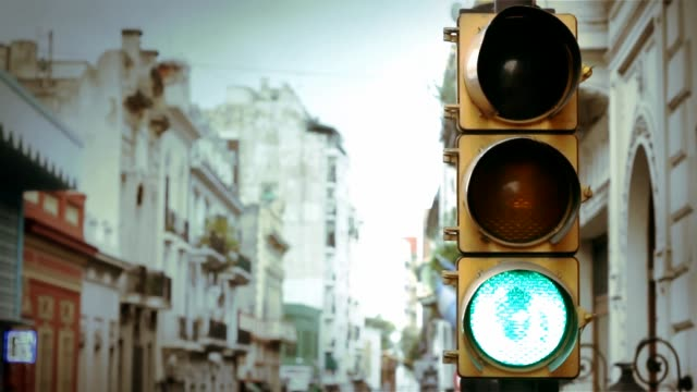 Traffic Light Turns Red. Traffic Light In Buenos Aires, Argentina.