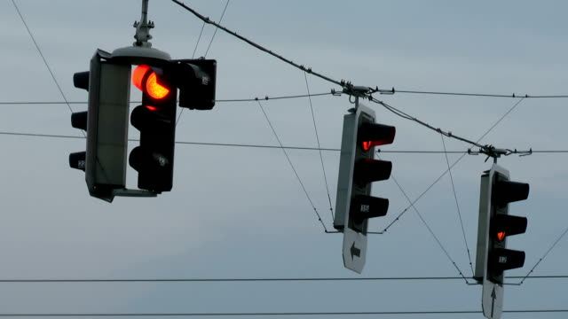 traffic lights at dusk video
