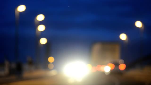 Traffic lights dusk defocused hd video