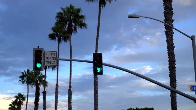 traffic lights in california in 4k slow motion - segnale per macchine e pedoni video stock e b–roll