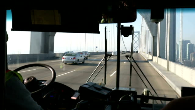 traffic on bridge from moving bus video