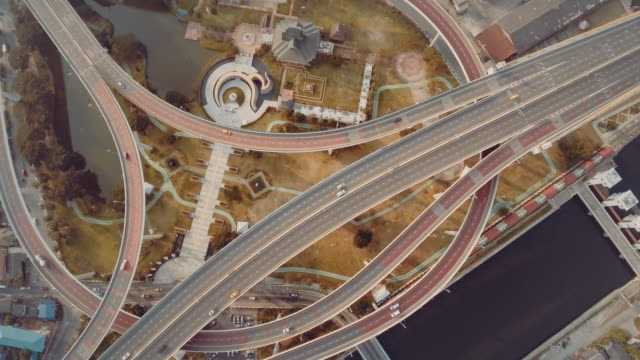 Traffic on Bridge : over head shot video