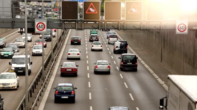 Traffic on German Highway in Berlin (A100) Traffic on German Highway autobahn stock videos & royalty-free footage