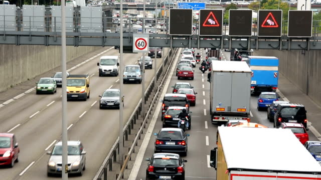 traffic on german highway - autobahn video stock e b–roll