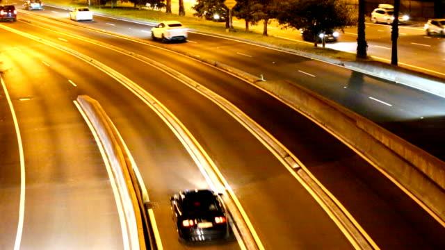 Traffic on highway at night Sydney Australia video