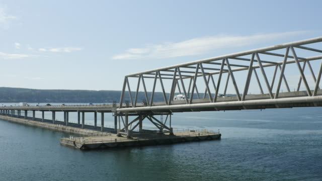 Traffic on Hood Canal Bridge Poulsbo Washington USA - Aerial Drone Birds Eye View