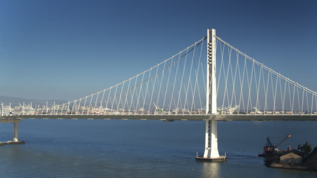 Traffic on the Bay Bridge with Port of Oakland Beyond video