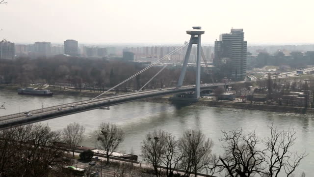 Traffic on the bridge across the Dunai in Bratislava, Slovakia video