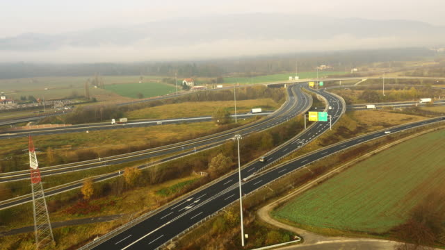 AERIAL Traffic on the highway intersections video