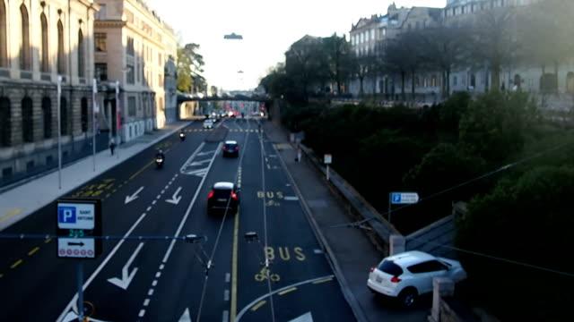 Traffic on the road Geneva, Switzerland video