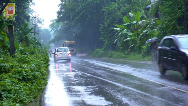 yan üzerinde yeşil bitki örtüsü ile ıslak yağmurlu yolda trafik. - pazarcı stok videoları ve detay görüntü çekimi