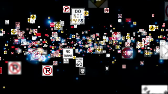 stockvideo's en b-roll-footage met traffic signs flying, black - maximumsnelheid bord