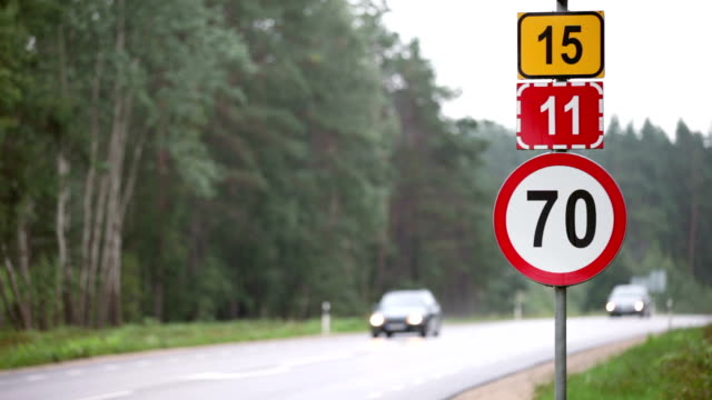 stockvideo's en b-roll-footage met traffic signs - maximumsnelheid bord