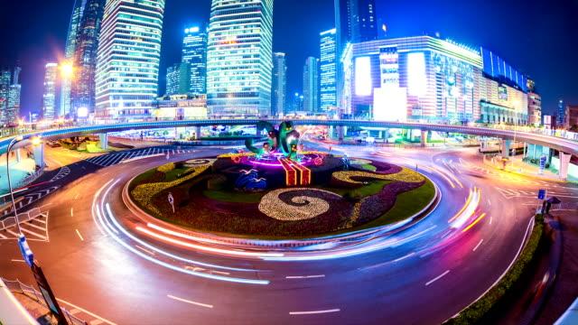 traffic through city,time lapse video