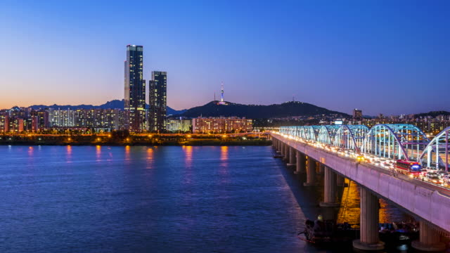 Traffic Time lapse at Dongjak Bridge in Seoul City, South Korea.Zoom in video