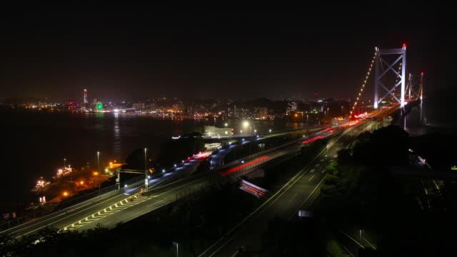 Traffic time-lapse of Kanmon bridge at Fukuoka, Japan video