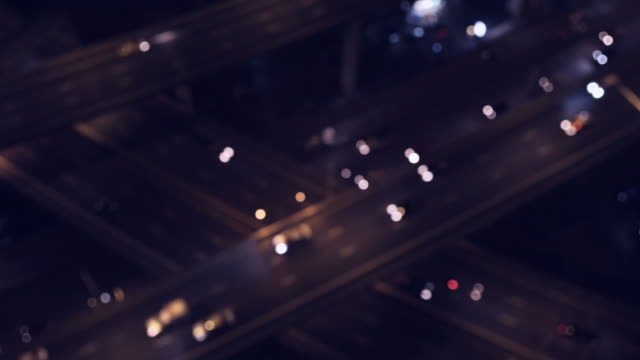 Traffic top view at night video 4k. video