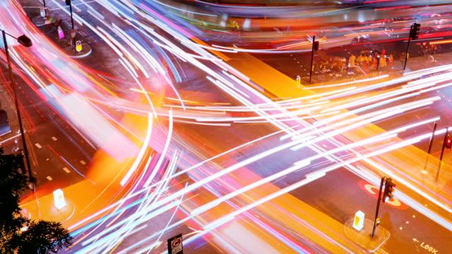 Traffic trails timelapse, London, England, UK
