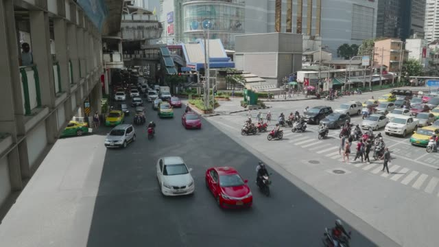 Traffic with Cityscape at Aerial view downtown Bangkok. video