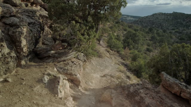 trail overlook hike features individual focal points in wilderness area in arid climate 4k video - conifera video stock e b–roll