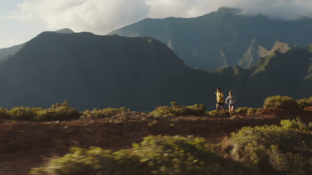 Trail runners adventuring in the mountains video