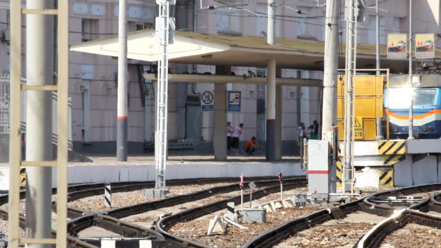 Russia.Moscow - 2013: Train arrives to the station video