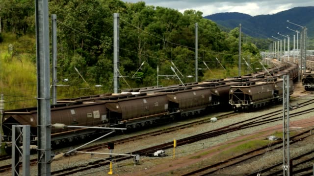 Train Carriages in a Rail Yard video