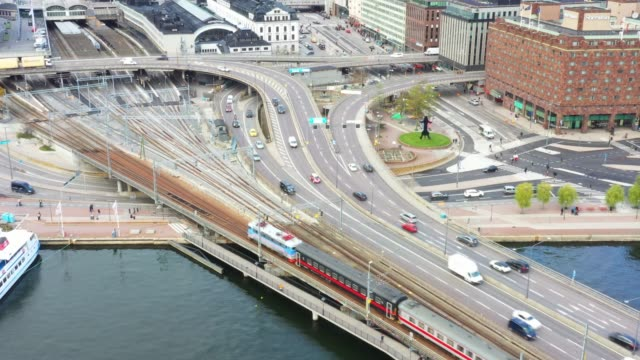 Train. Central Stockholm Highway and railway bridge seen from above