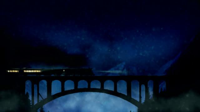 Train crosses the mountain bridge in a snowy night HD video