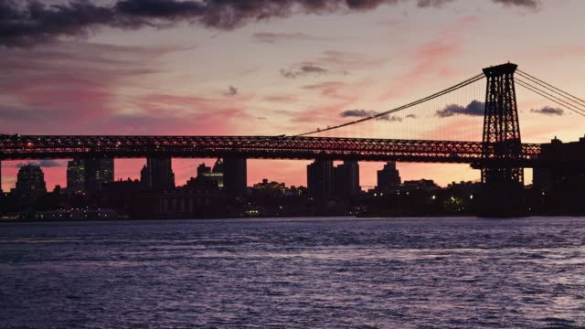 Train Crossing Williamsburg Bridge at Sunset video