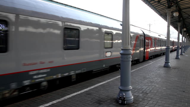 Russia.Moscow - 2013: Train departs from the platform video