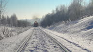 istock Train in beautiful winter. Professional video with slider. 1286387864