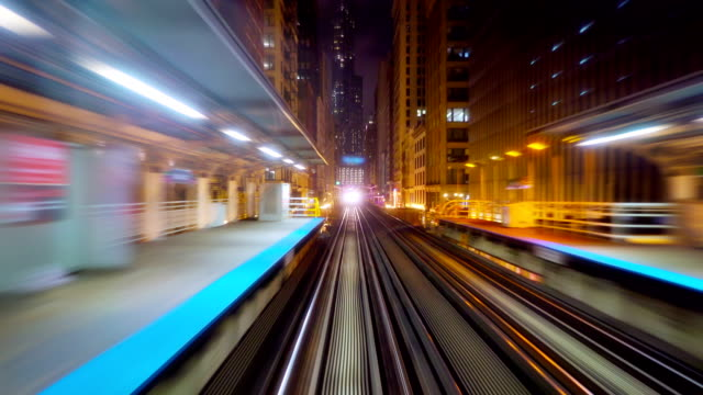 Train in Chicago business district video