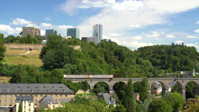 Zug in Luxemburg mit Geschäftsviertel – Video