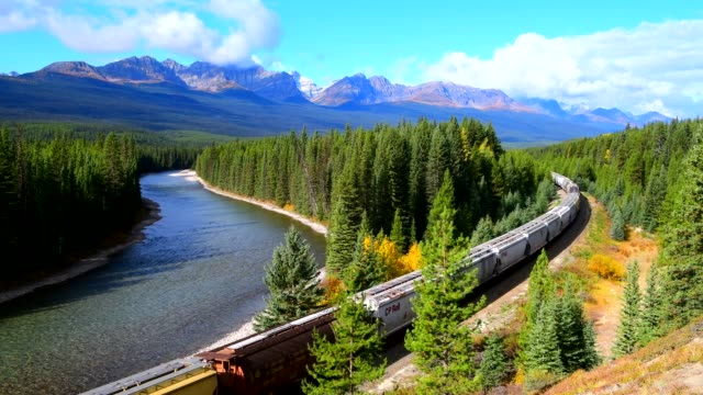 Train moving along Bow river in Canadian Rockies ,Banff Long freight train moving along Bow river in Canadian Rockies ,Banff National Park, Canadian Rockies,Canada. railing stock videos & royalty-free footage