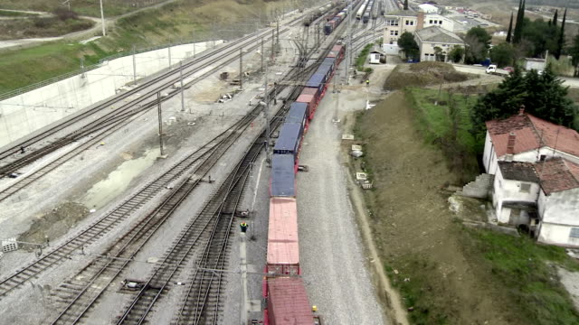 WS AERIAL Train Moving Along Junction video