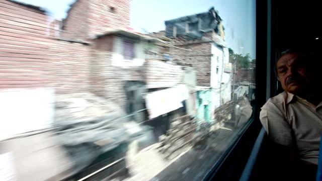 Train passing through a slum area in India video