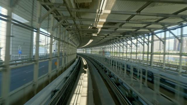 Train rail way between tokyo city and odaiba island