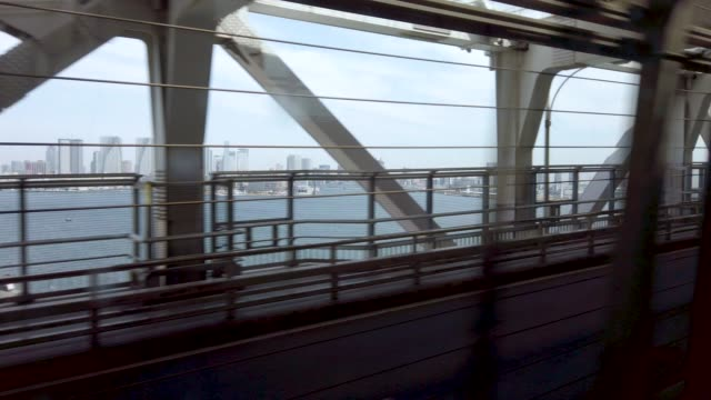 4K Train rail way to odaiba island 4K Train rail way to odaiba island railroad station platform stock videos & royalty-free footage