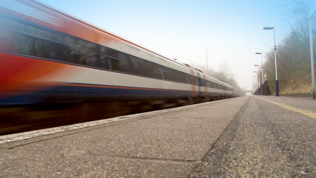 Train rushes past platform video