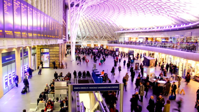 Train station people movement, London time lapse video