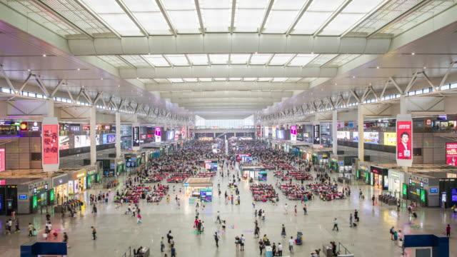 train station shanghai,time lapse - szanghaj filmów i materiałów b-roll