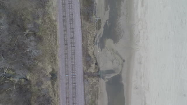 Train Tracks Gloomy Cloudy Aerial video